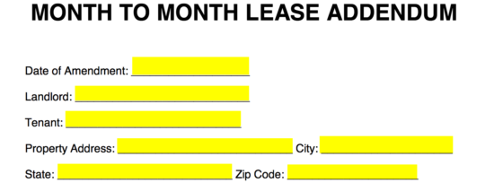 Free Month To Month Lease Addendum Template Pdf Word