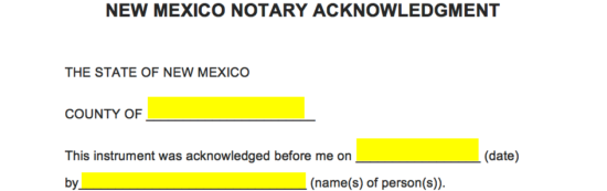 free new mexico notary acknowledgement form pdf word eforms