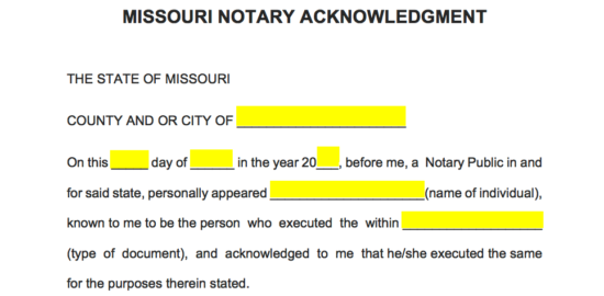 Free Missouri Notary Acknowledgement Form - Word | PDF | eForms ...