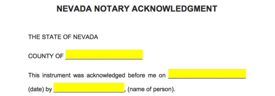 Free Nevada Notary Acknowledgment Form - PDF | Word ...