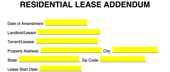Free Residential Lease Addendum Template Pdf Word Eforms