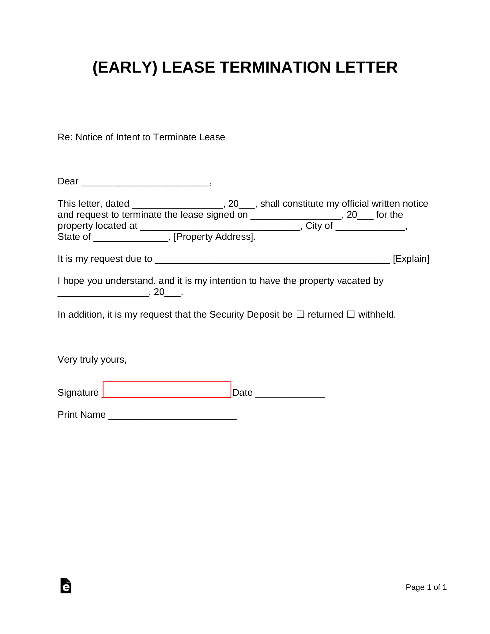 Early Lease Termination Letter | Landlord-Tenant | eForms