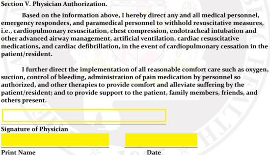 Free Alabama Do Not Resuscitate (DNR) Order Form