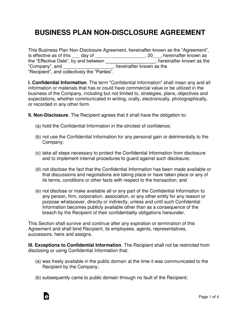 Business plan non disclosure agreement nda template eforms pdf word odt flashek