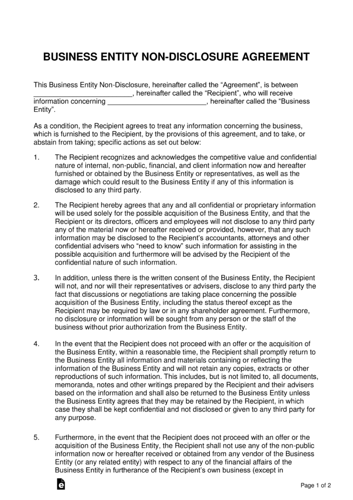 Non Disclosure Agreement U2013 Wikipedia Business Non Disclosure Agreement