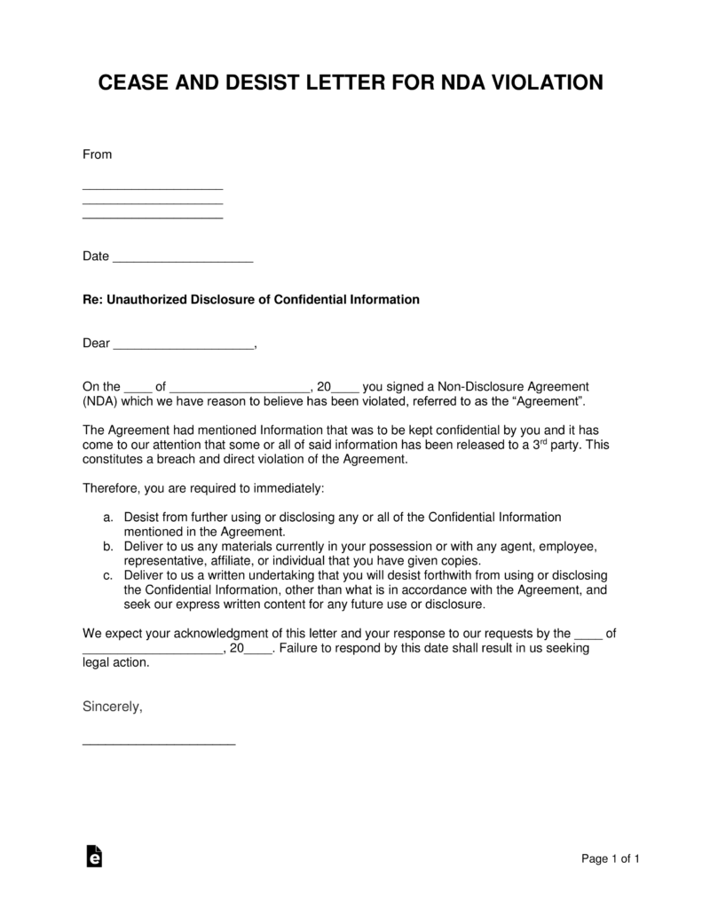 Violation Of Non Disclosure Agreement (NDA) Form U2013 Cease And Desist |  EForms U2013 Free Fillable Forms  Free Nda Forms