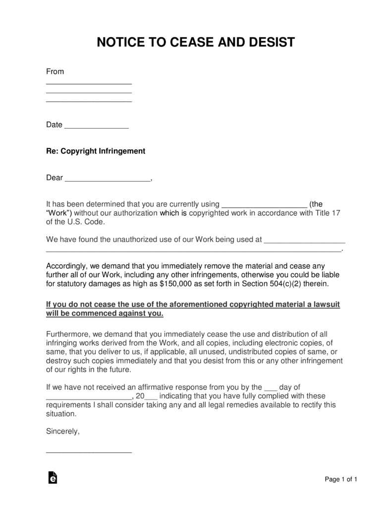 Free Copyright © Infringement Cease and Desist Letter   Word | PDF