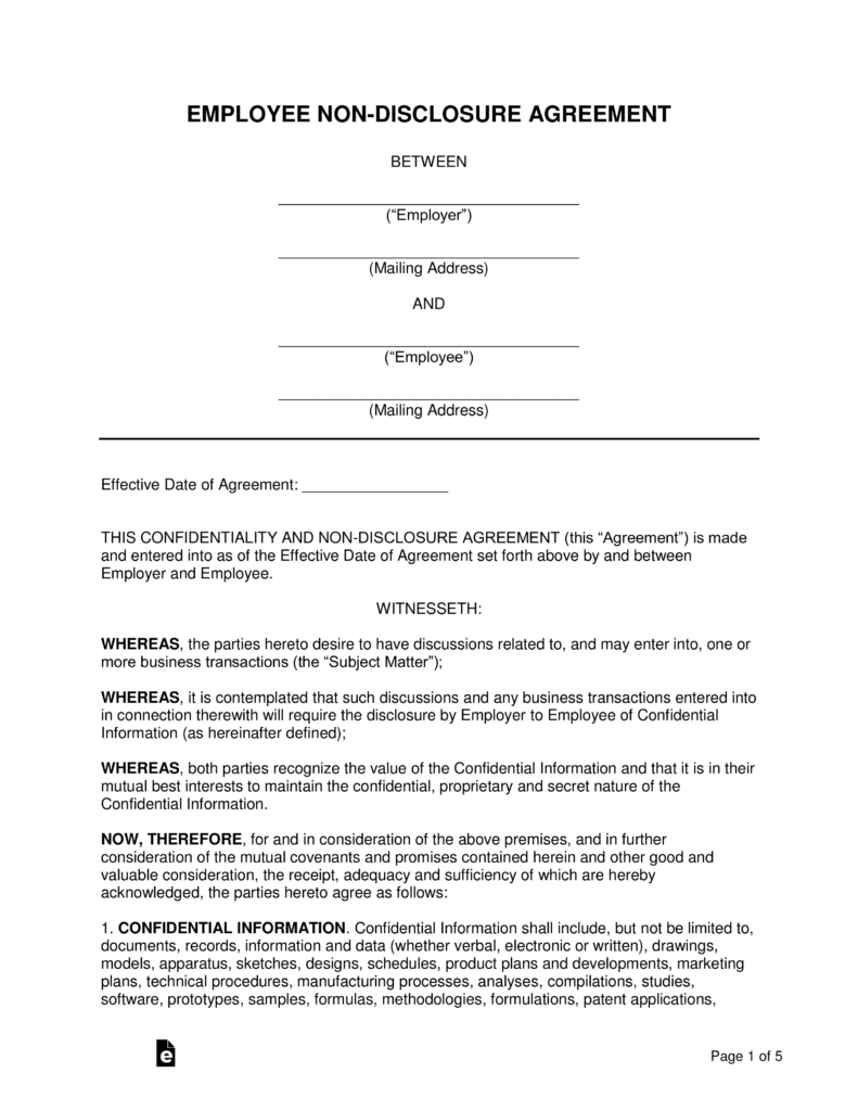 Employee Non Disclosure Agreement Nda Template Eforms Free