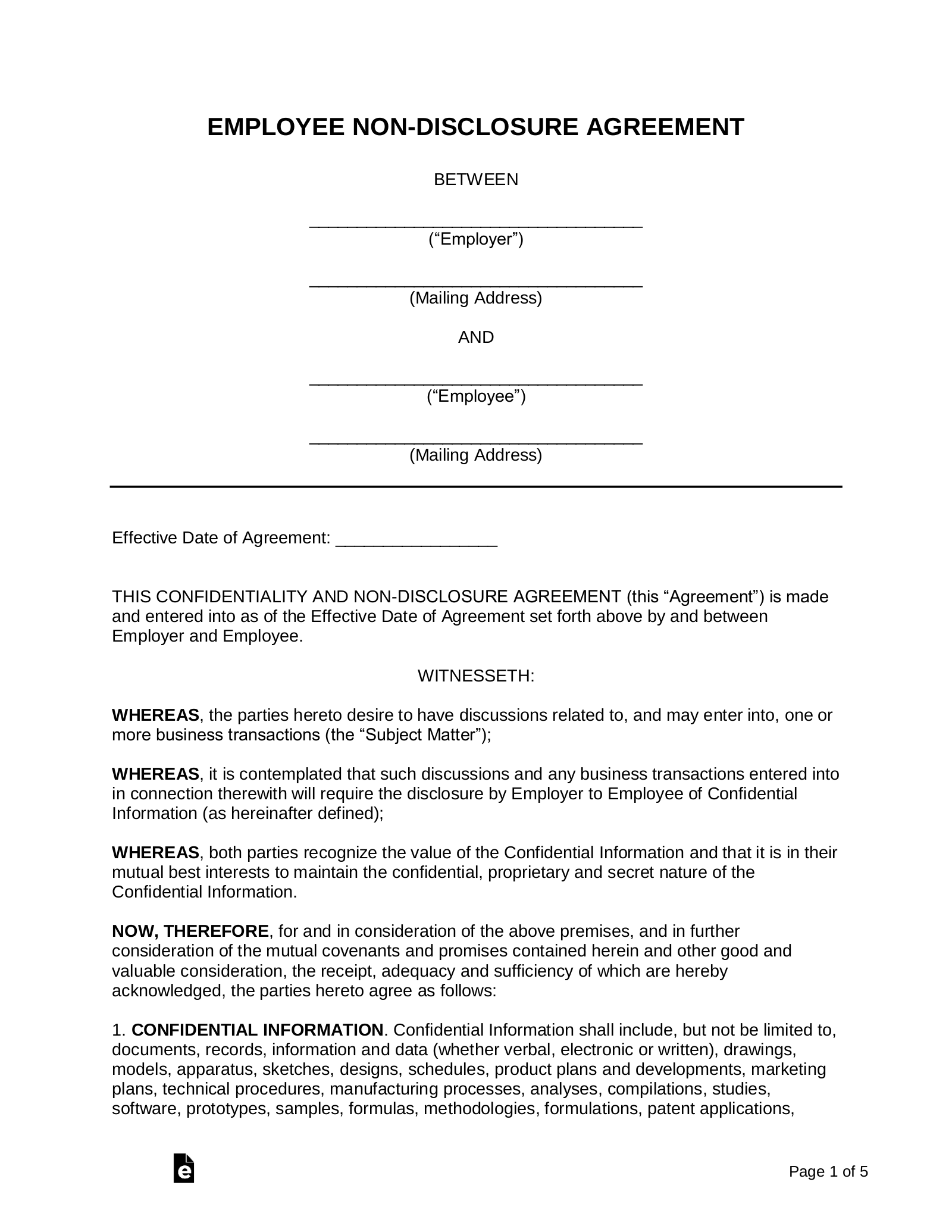 Employee Non Disclosure Agreement Nda Template Eforms