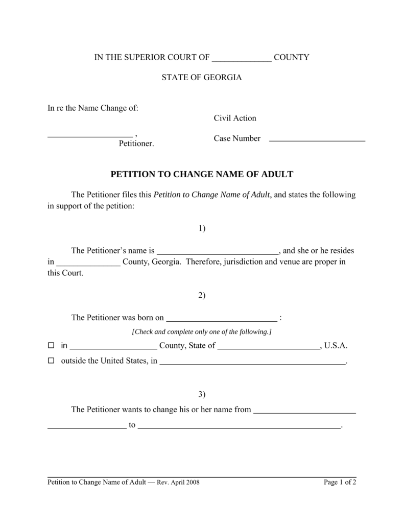 Free Georgia Name Change Forms How To Change Your Name In Ga Pdf