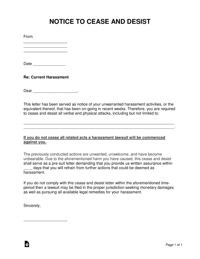 free harassment cease and desist letter template - word | pdf