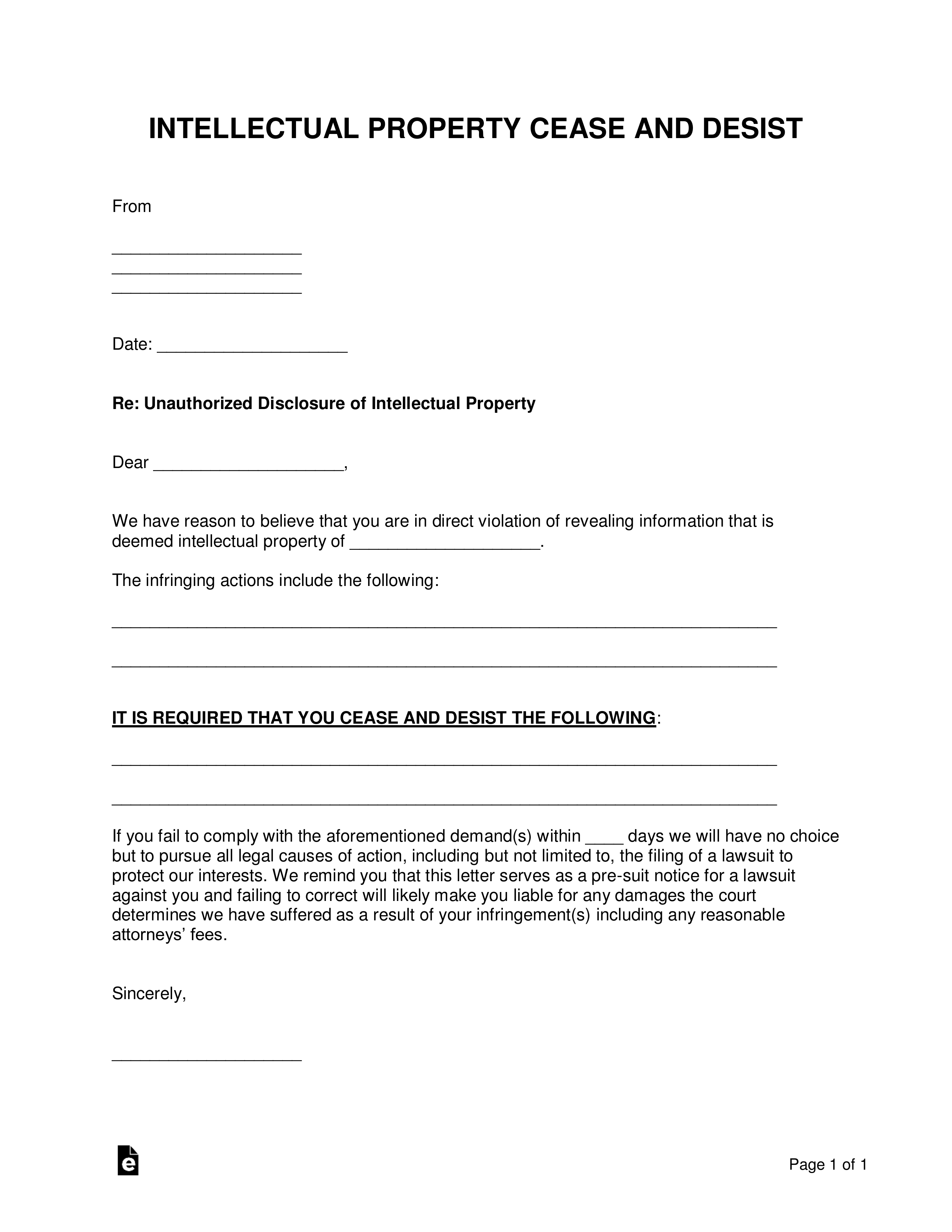 Sample Of Cease And Desist Letter from eforms.com