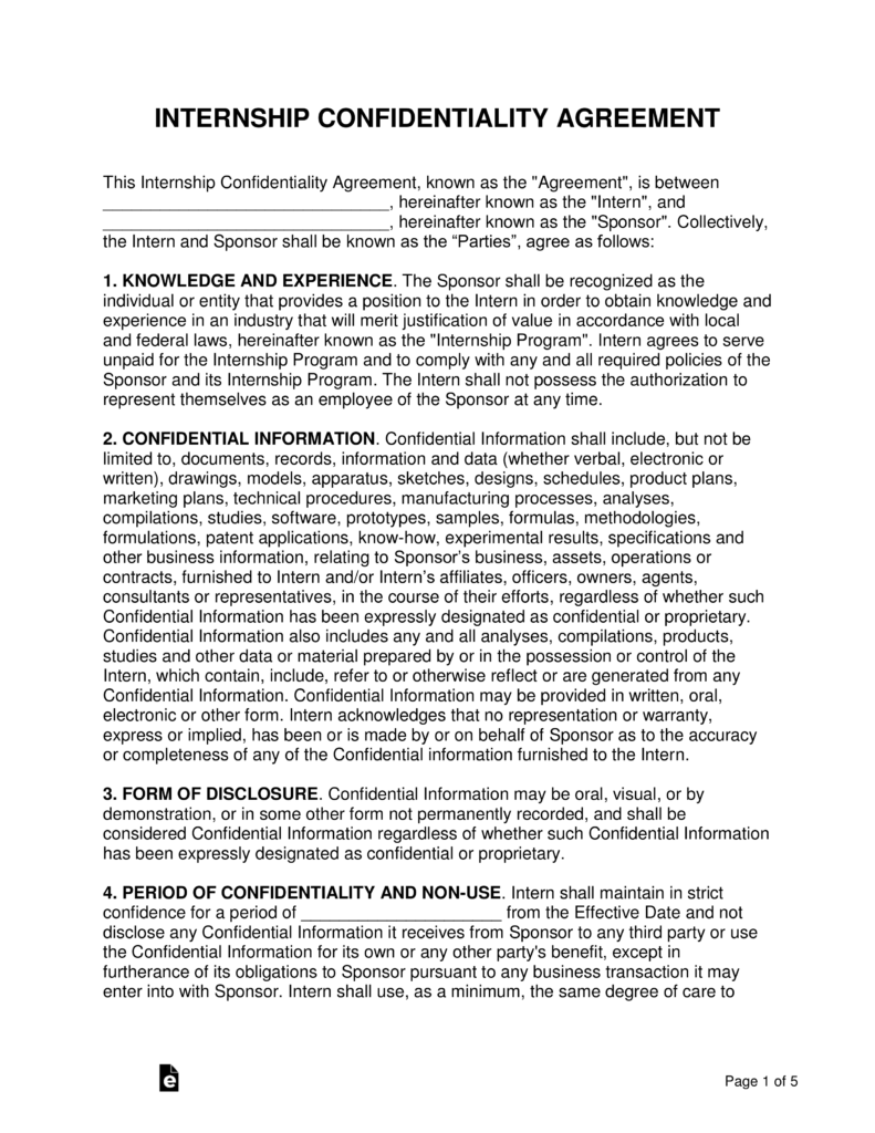 Free Internship Confidentiality Agreement Template Word Pdf