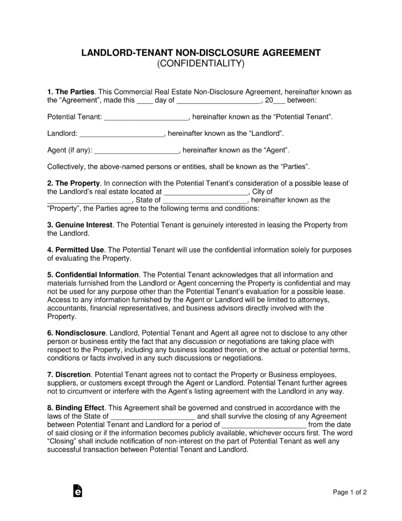 Financial Confidentiality Agreement | Landlord Tenant Non Disclosure Agreement Nda Template Eforms