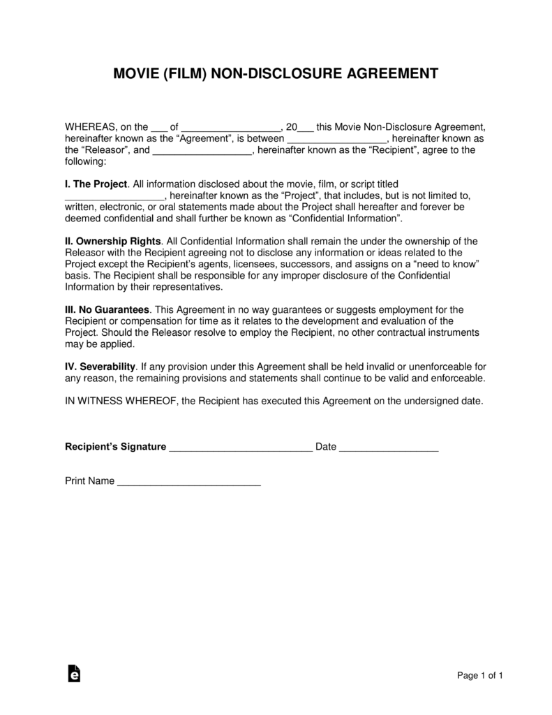 Movie Film NonDisclosure Agreement NDA Template EForms Free - One page nda template