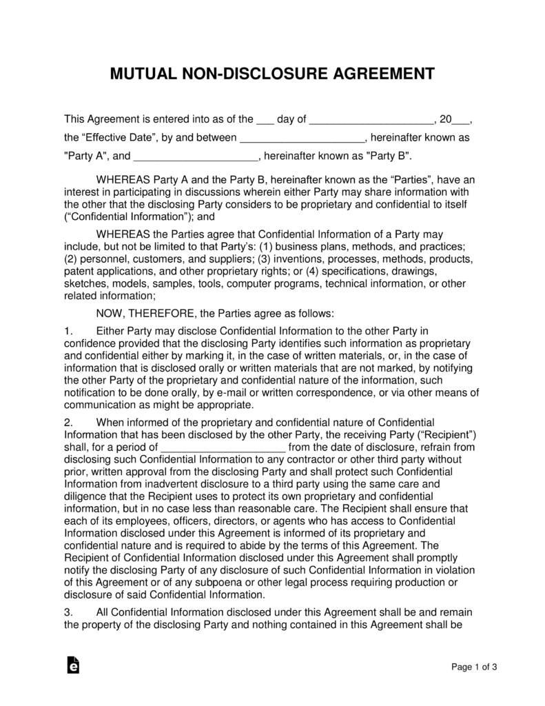 Mutual NonDisclosure Agreement NDA Template EForms Free - One page nda template