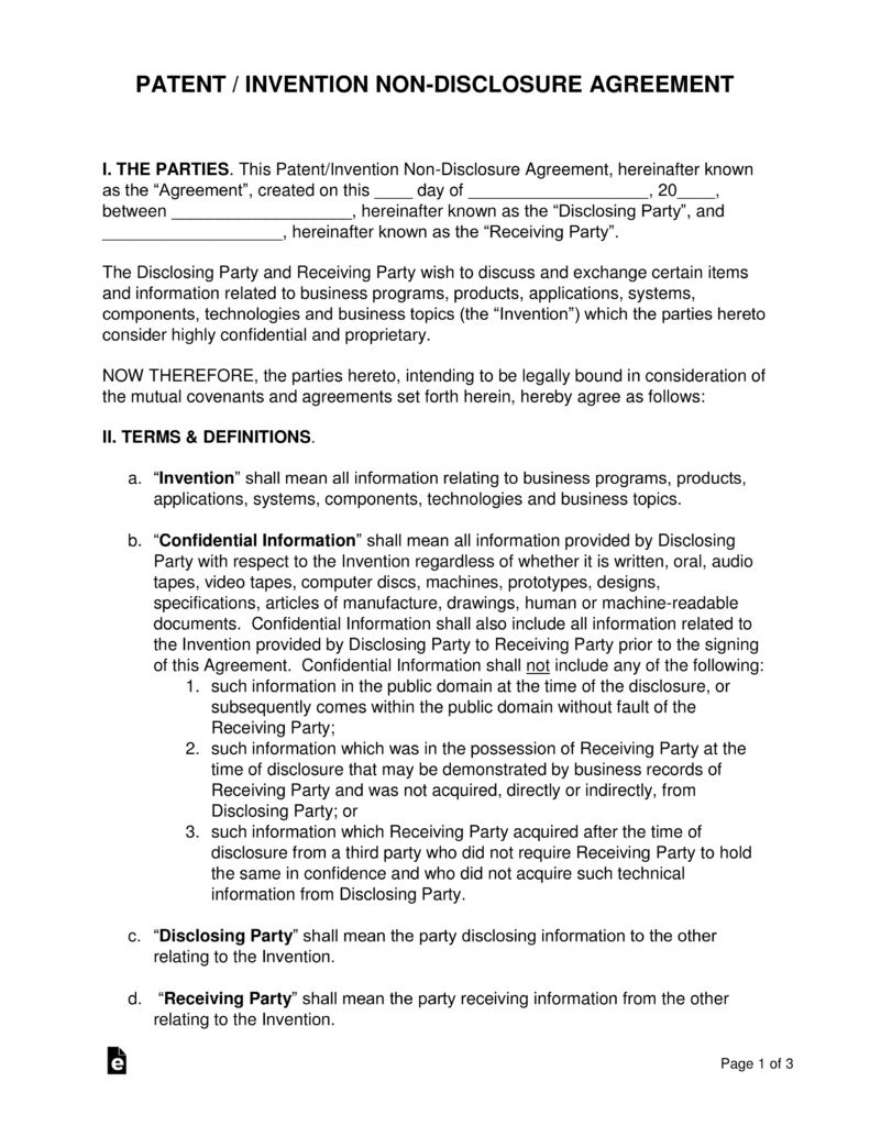 Patent Invention Non Disclosure Agreement Nda Template Eforms