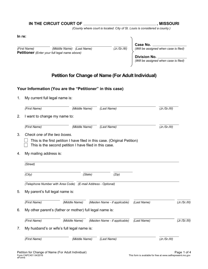 Free Missouri Name Change Forms - How to Change Your Name in MO