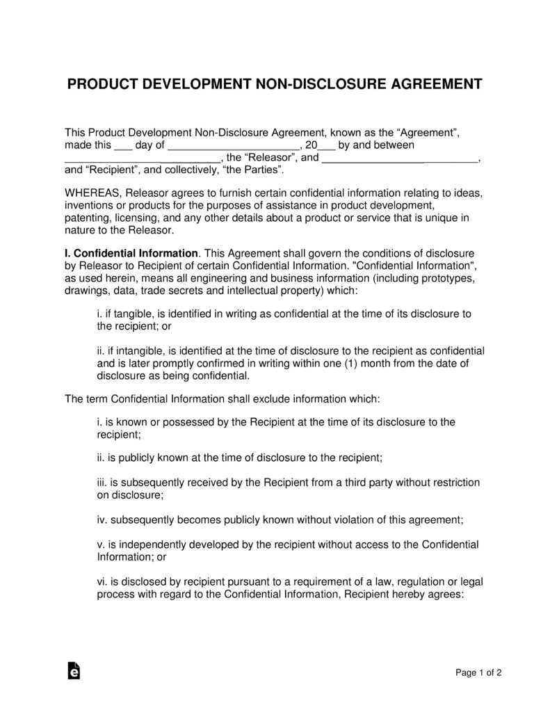 Product Development Non Disclosure Agreement Nda Template Eforms