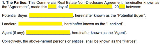 Real Estate Buyer Non Disclosure Agreement Nda Template