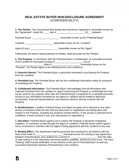 Free Non Disclosure Agreement Template from eforms.com