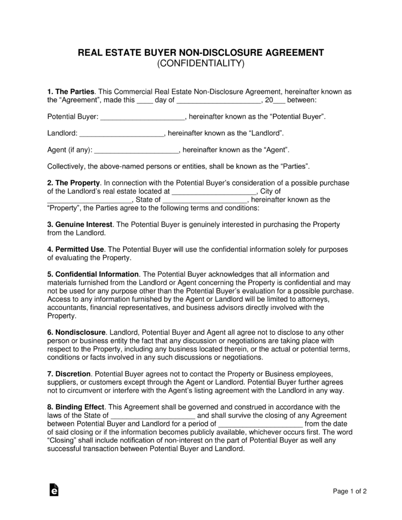 Real Estate Buyer NonDisclosure Agreement NDA Template EForms - Real estate non disclosure agreement template