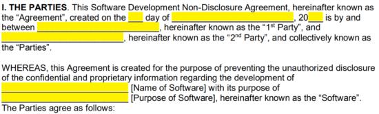 Software Development Non Disclosure Agreement Nda Template