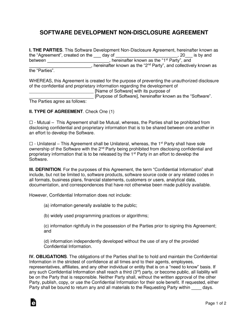 Software Development Non Disclosure Agreement Nda Template