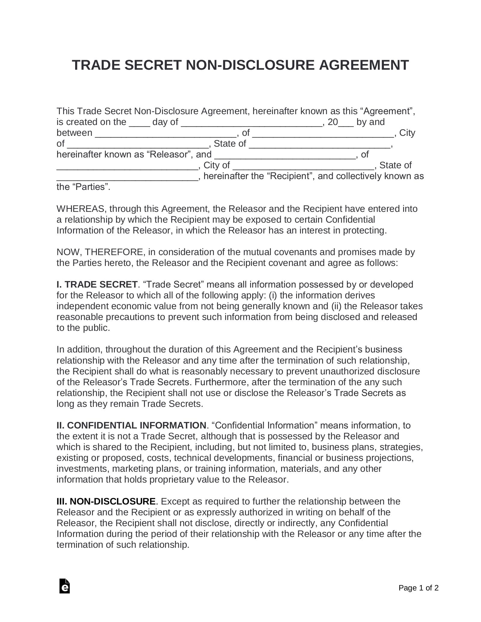 Trade Secret Non Disclosure Agreement Nda Template