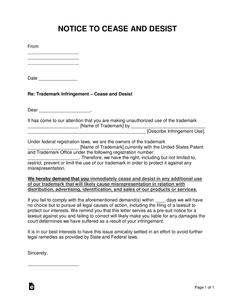 free trademark infringement cease and desist letter - word | pdf