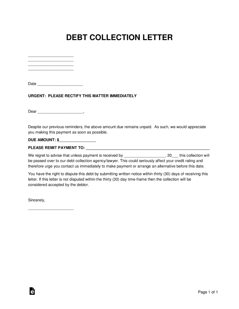 free debt collection letter template word pdf eforms free