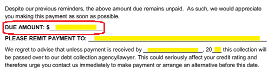 to begin find the labeled line due amount in the body of this letter use this area to record the exact dollar amount the recipient owes and must pay