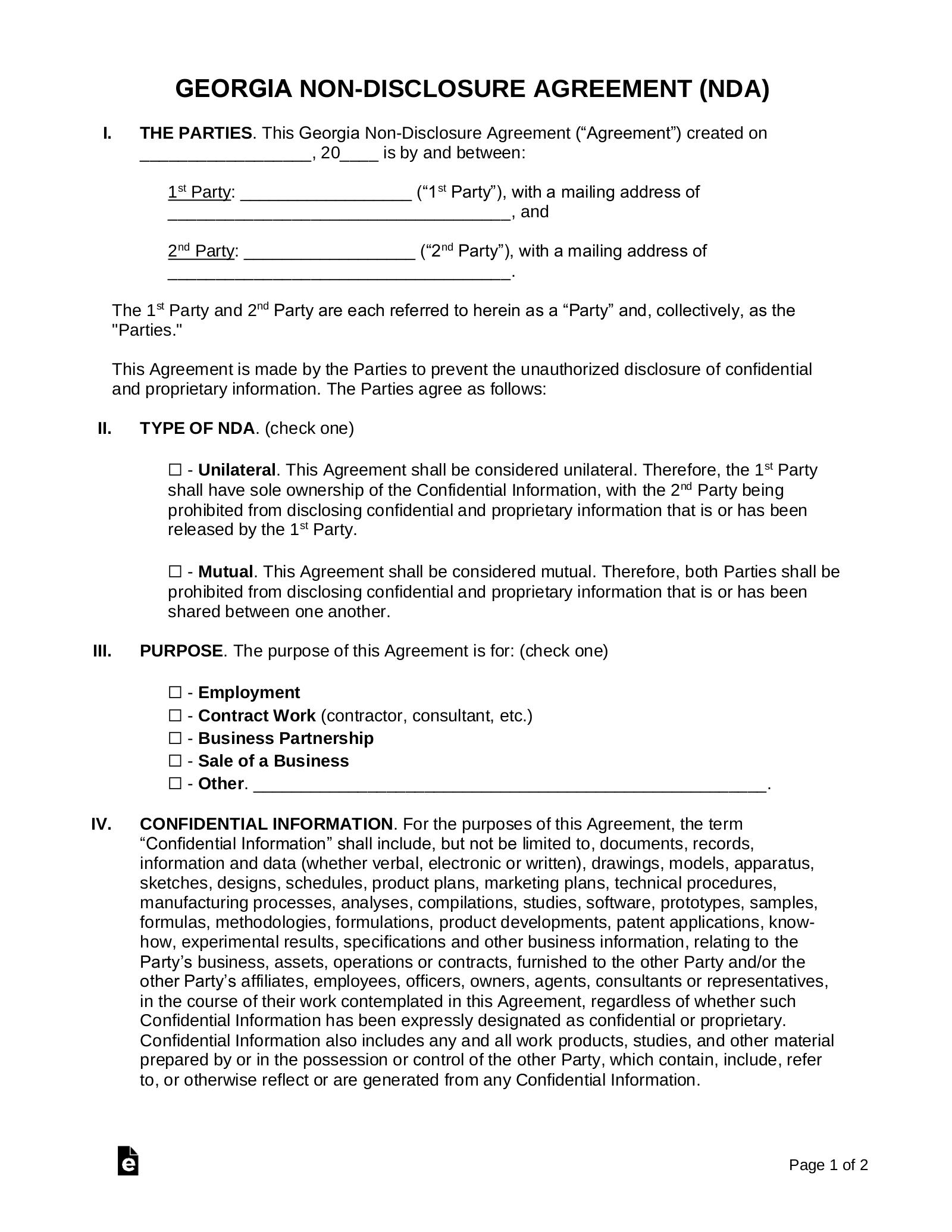 Georgia Non Disclosure Agreement Nda Template Eforms