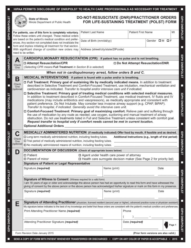 Free Illinois Do Not Resuscitate (DNR) Order Form   PDF | EForms U2013 Free  Fillable Forms