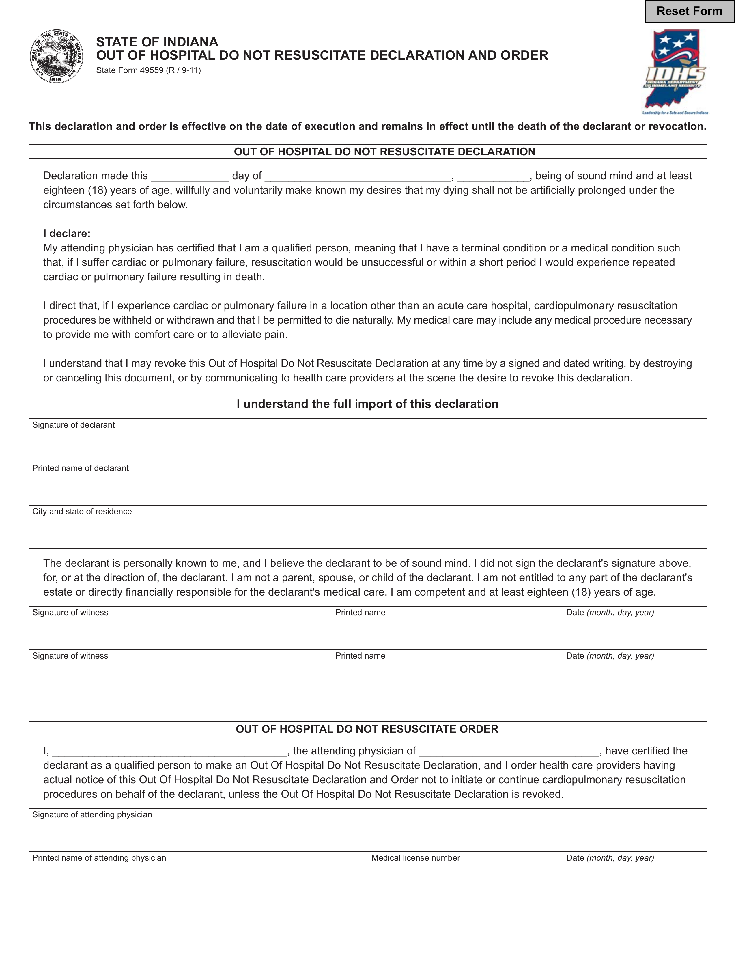 free indiana do not resuscitate  dnr  order form