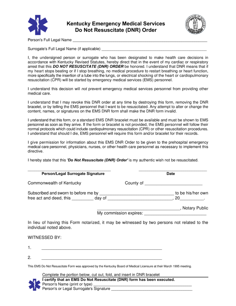 free kentucky do not resuscitate  dnr  order form