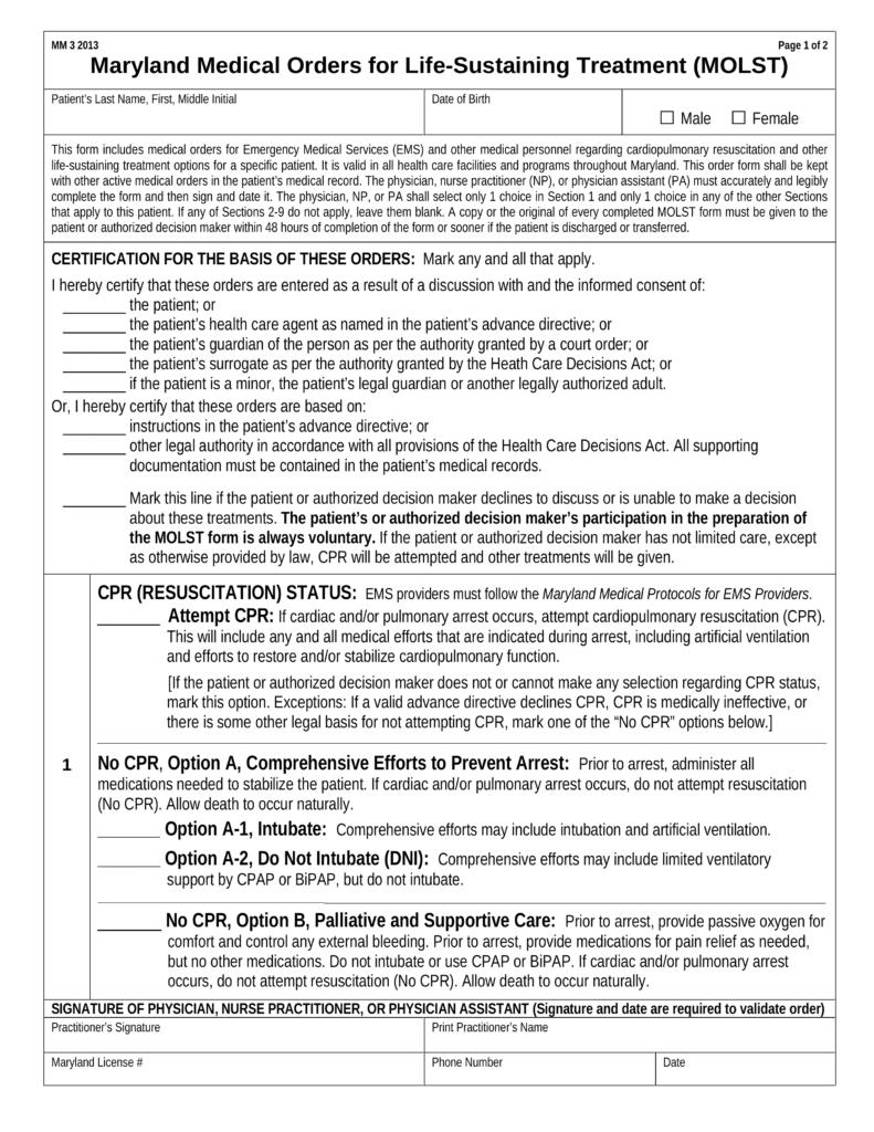 Free Maryland Do Not Resuscitate Dnr Order Form Pdf Eforms