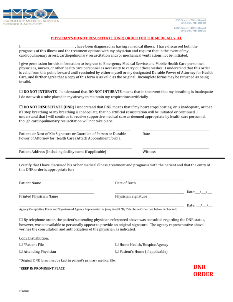 Free Nebraska Do Not Resuscitate Dnr Order Form Pdf Eforms