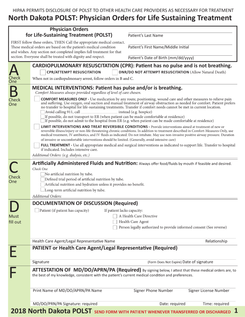 Free North Dakota Do Not Resuscitate Dnr Order Form Pdf Eforms