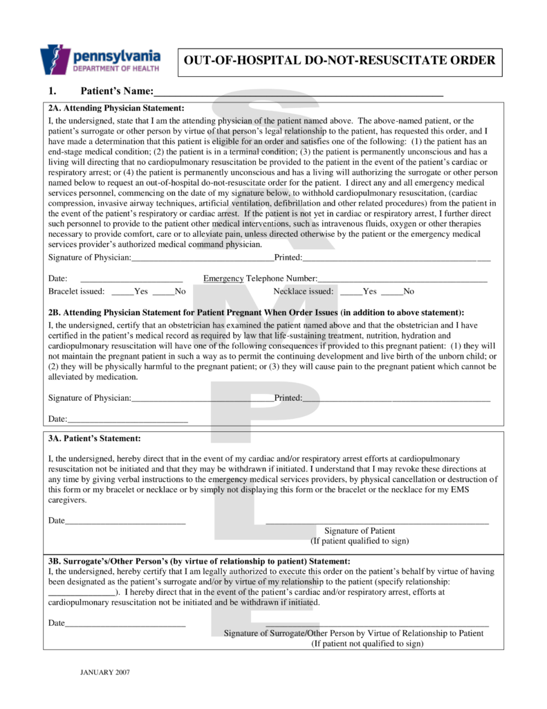 Free Pennsylvania Do Not Resuscitate (DNR) Order Form   Sample Only   PDF |  EForms U2013 Free Fillable Forms