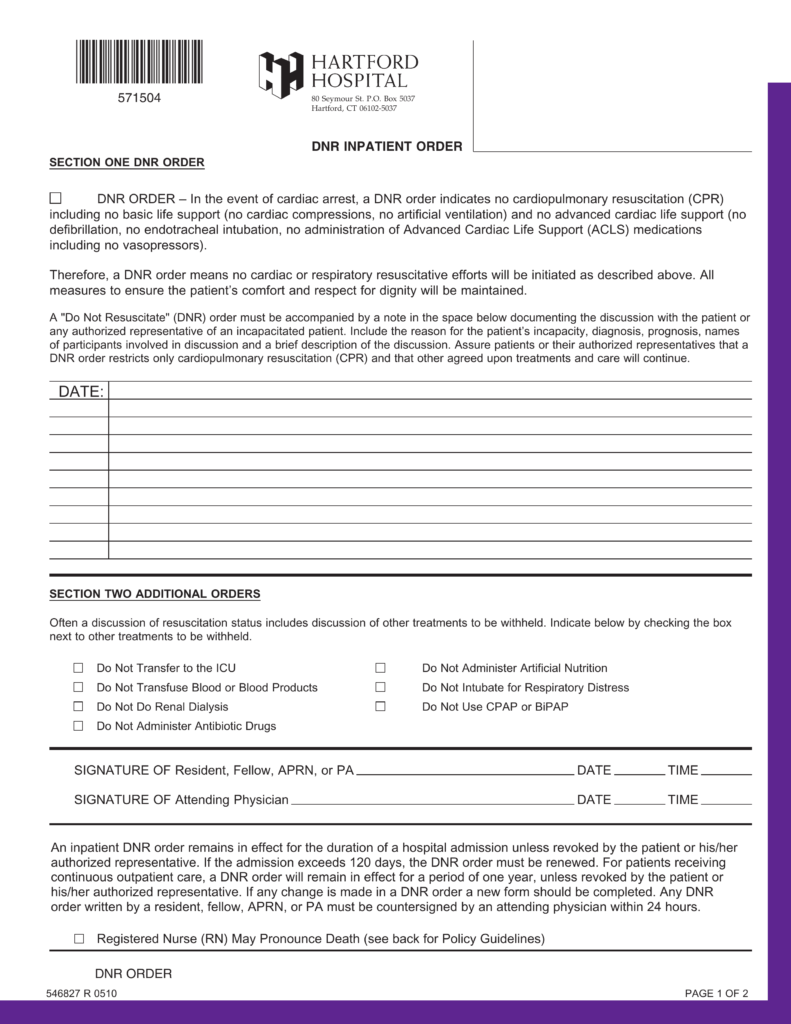Free Connecticut Do Not Resuscitate Dnr Order Form Pdf Eforms