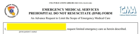 photo relating to Printable Dnr Form called Totally free California Do Not Resuscitate (DNR) Acquire Type - PDF