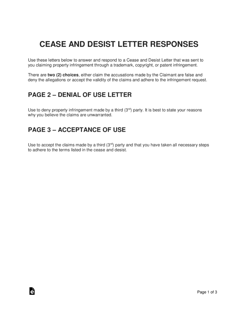 Free Cease and Desist Response Letters   Templates and Samples
