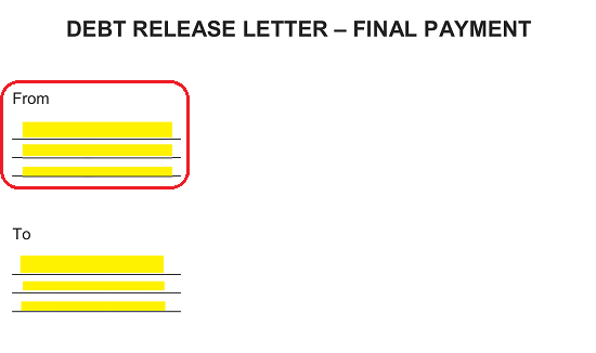 Free Debt Release Letter After Final Payment Word Pdf Eforms