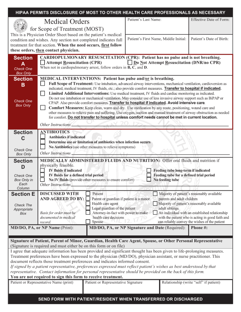Bill Of Sale Form Nc >> Free North Carolina Do Not Resuscitate (DNR) Order Form - PDF | eForms – Free Fillable Forms