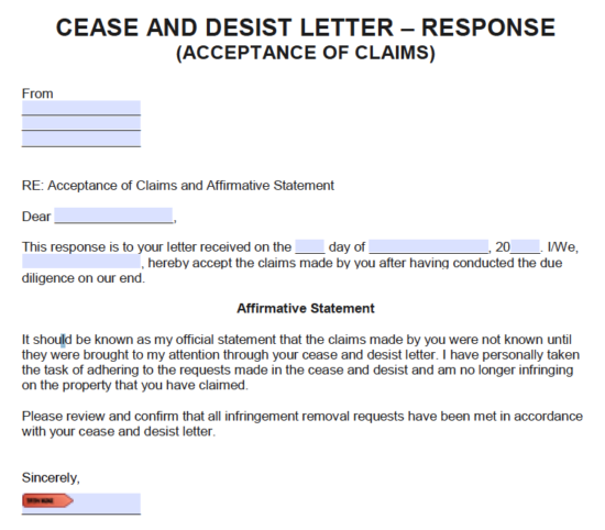 Free Cease and Desist Response Letters - Templates and