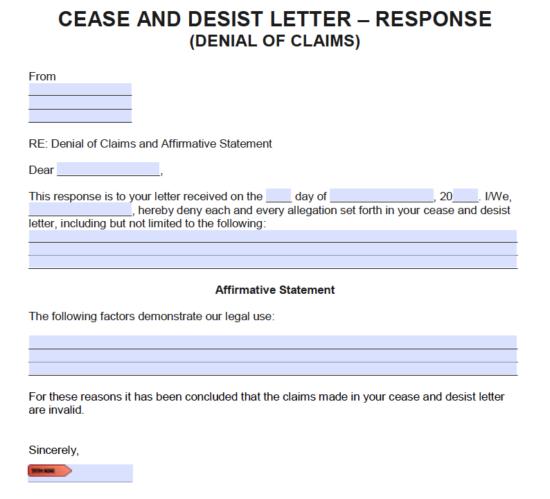 Denial Claim Letter Sample from eforms.com