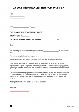 10-Day-Demand-Letter-for-Payment-255x361  Day Demand Letter Texas Template Nueces County on