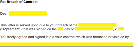Breach Of Contract Letter Example from eforms.com