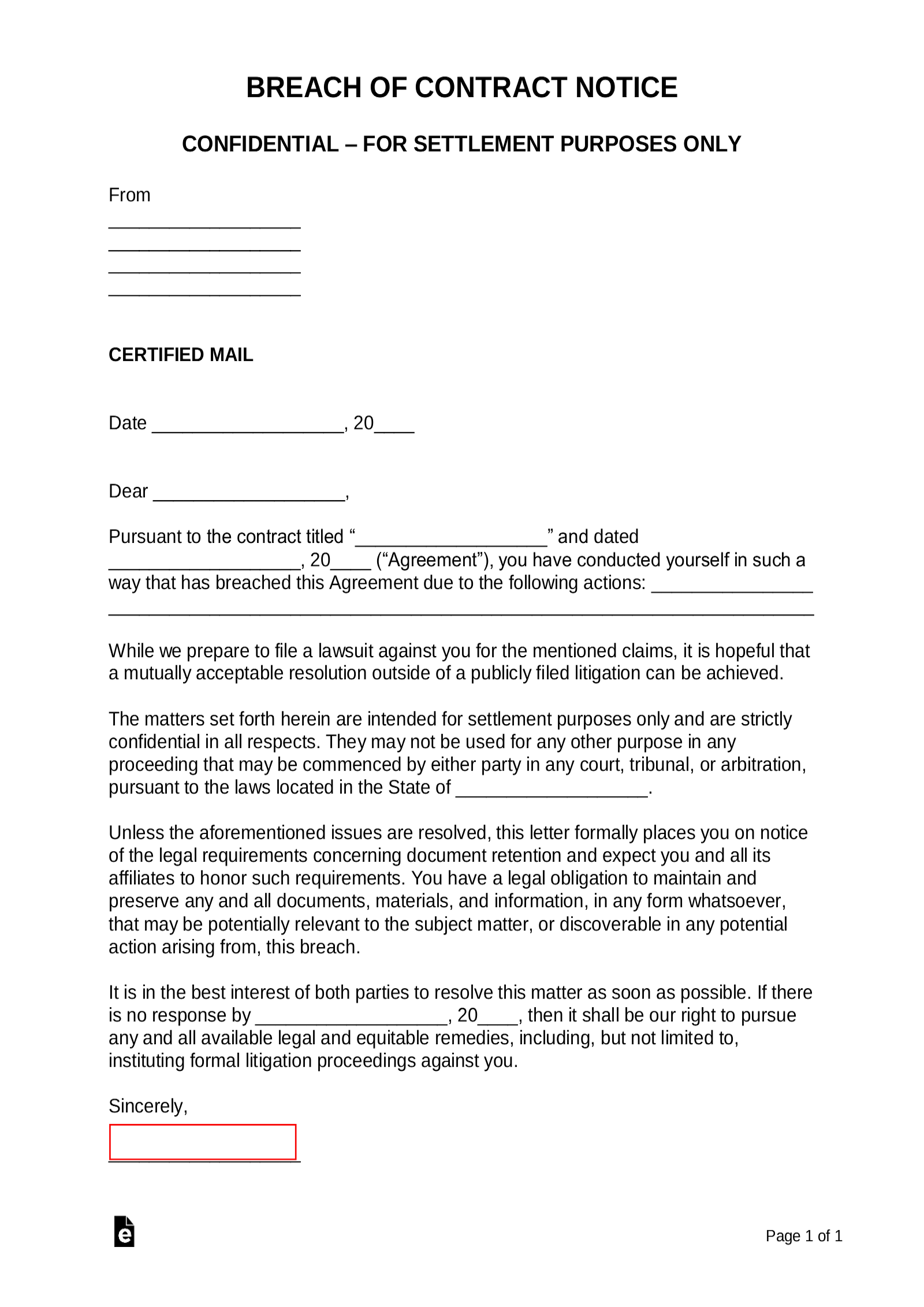 Breach-of-Contract-Demand-Letter Demand Letter Template For Breach Of Contract on before lawsuit,